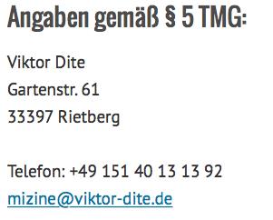 Verantwortlich: Viktor Dite; Gartenstr. 61; 33397 Rietberg; impressum@viktor-dite.de; 0151 40 13 13 92