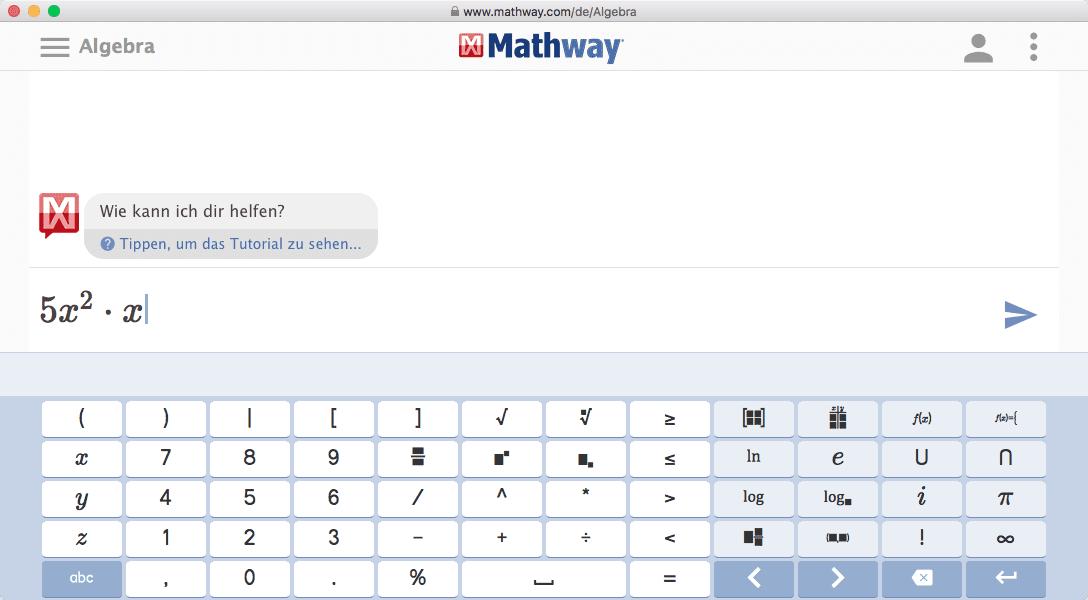 Online Gleichungen Lösen mit Mathway