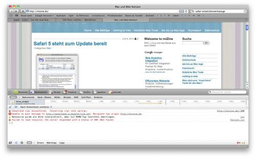 Safari 5 Webentwickler Werkzeuge