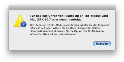Für das Ausführen von iTunes im 64-Bit-Modus wird Mac OS X 10.7 oder neuer benötigt