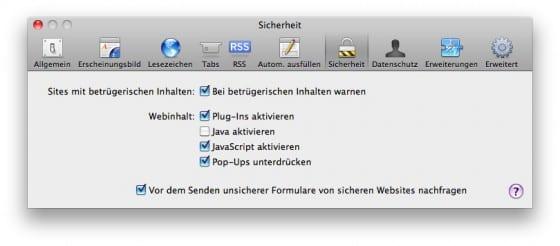 Im Safari Java deaktivieren
