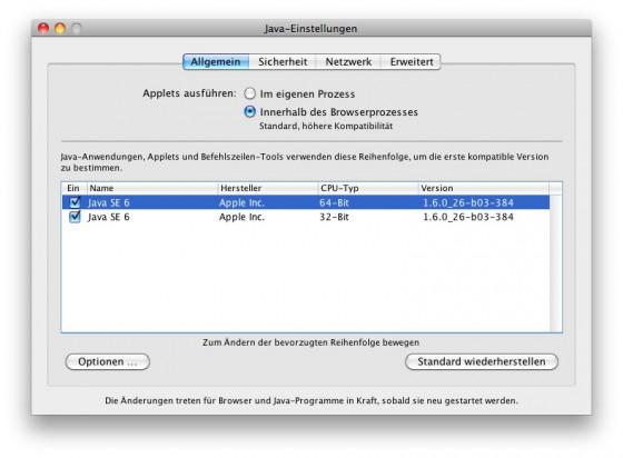 Java auf dem Mac deaktivieren