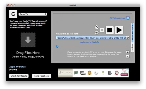 AirFlick Video Stream zum Apple TV