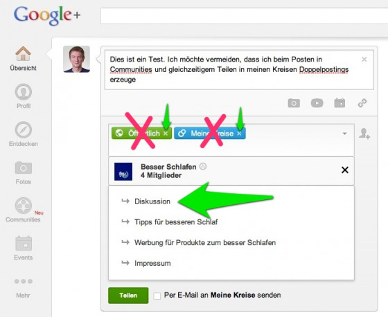 google plus richtiges posten in communities