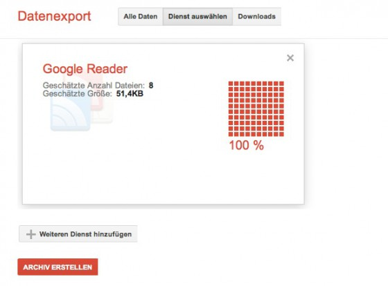 Google Reader Export über Takeout