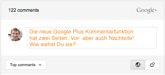 google plus kommentarfunktion blog