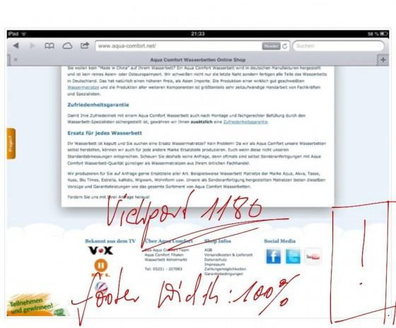 iPad width:100% CSS