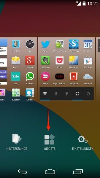 nexus 5 widgets auf dem homescreen