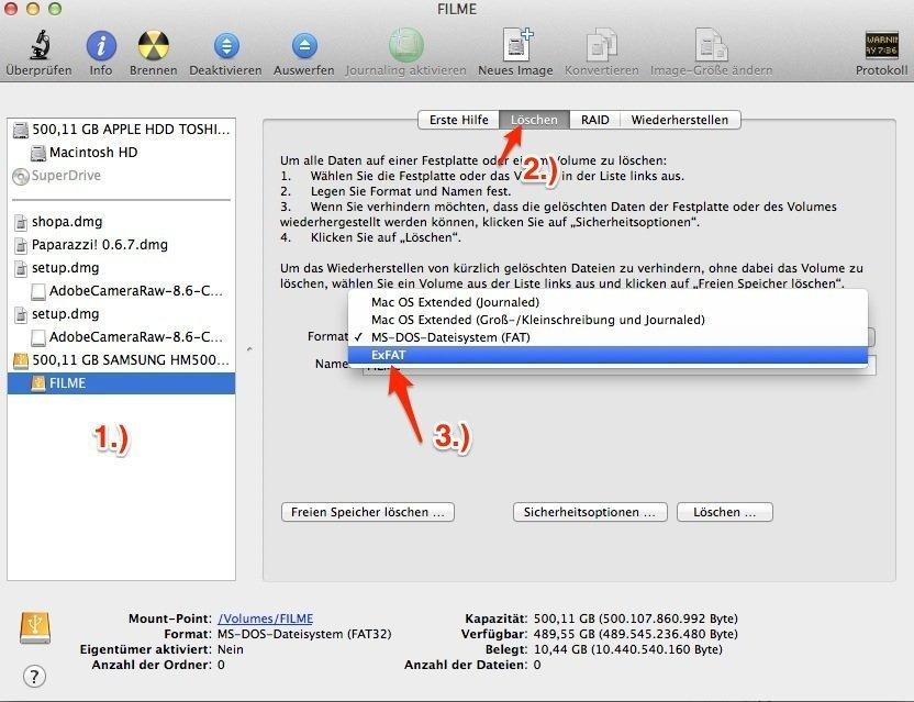 ExFAT am Mac formatieren