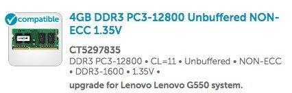 lenovo g550 ram aufrüsten