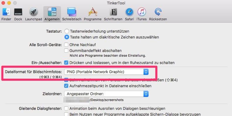 Mac Bildschirmfoto Dateiformat mit Tinkertool einstellen