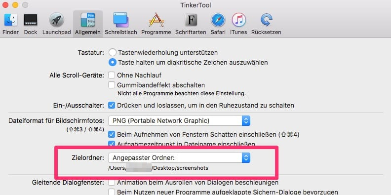 Mac Screeshot Speicherort festlegen mit TinkerTool