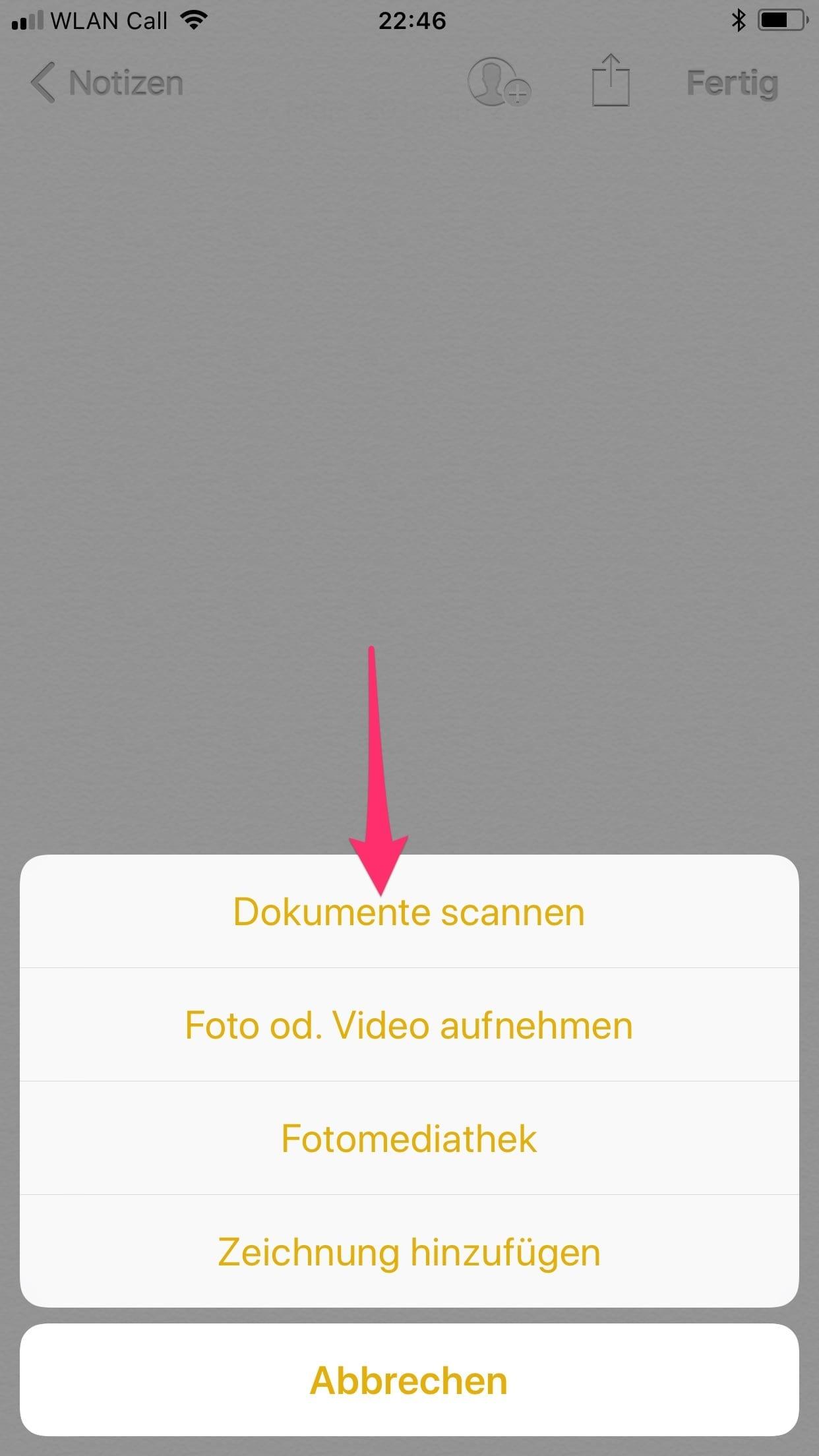 Dokumente scannen mit iPhone oder iPad - Dokument Scannen auswählen