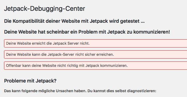 Hier nochmal der Beweis, dass Snitch die Kommunikation von JetPack kappt