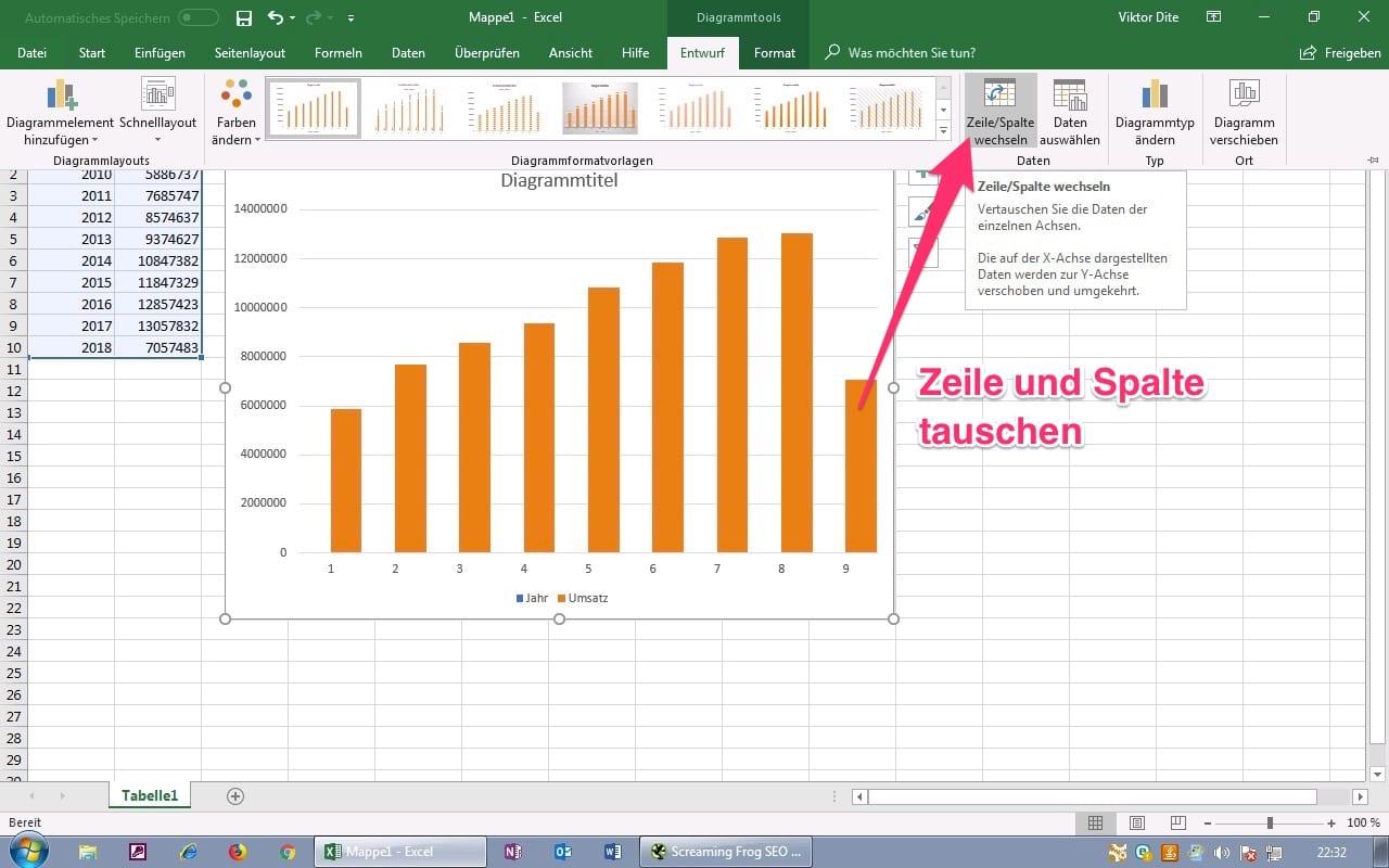 Excel Diagramm Achsen tauschen Schritt 2