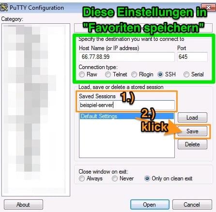 PuTTY Anleitung: SSH Verbindung unter Favoriten speichern