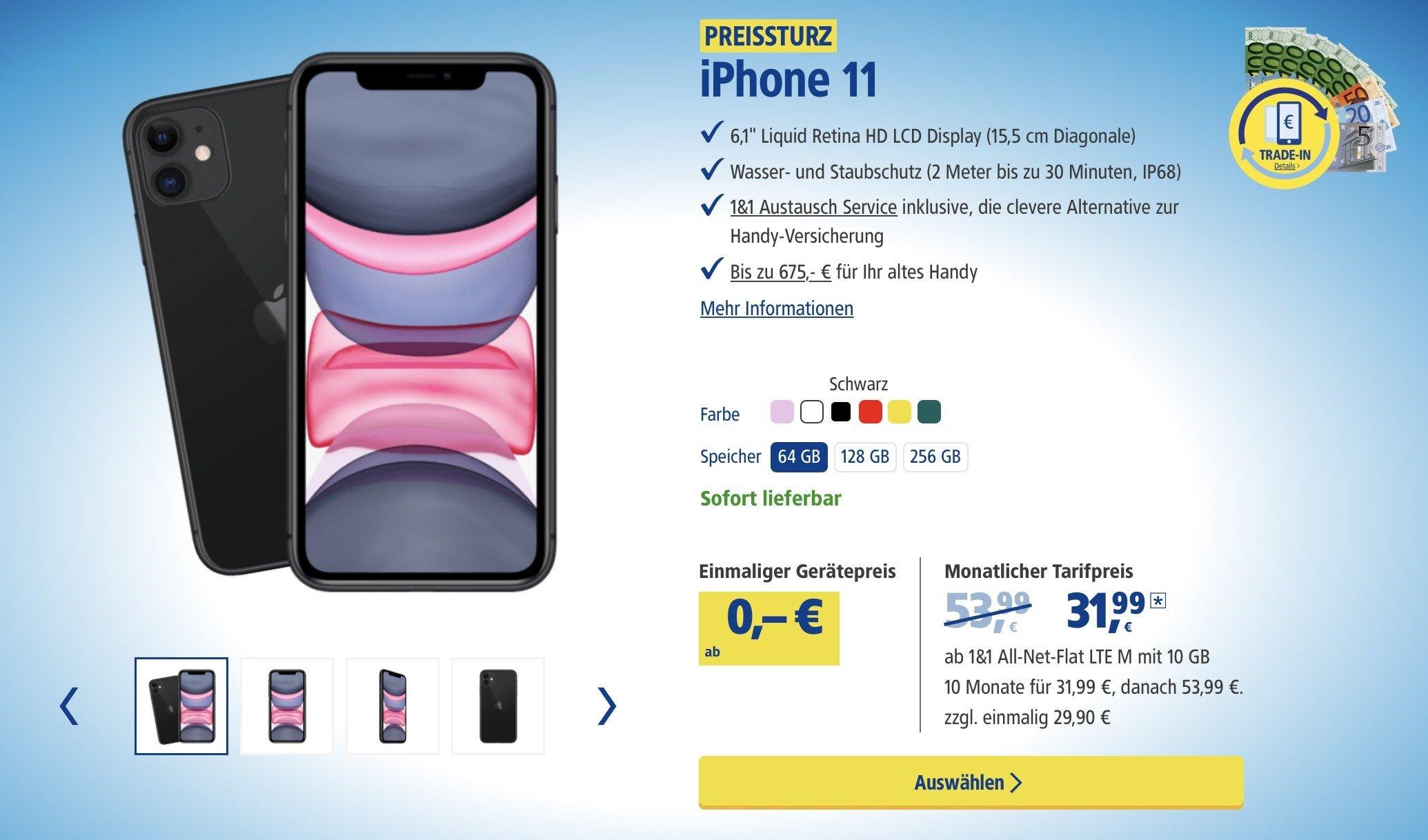 iPhone 11 bei 1&1 günstig kaufen mit Vertrag