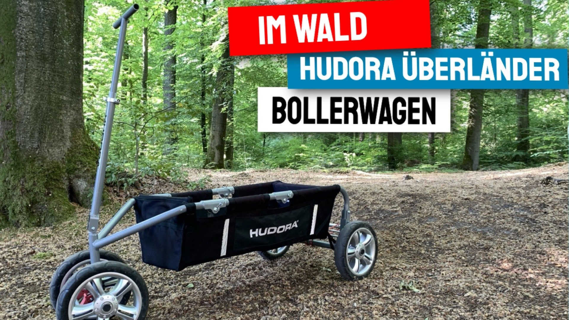 Faltbarer Bollerwagen Hudora Überländer Premium unterwegs im Wald Gelände