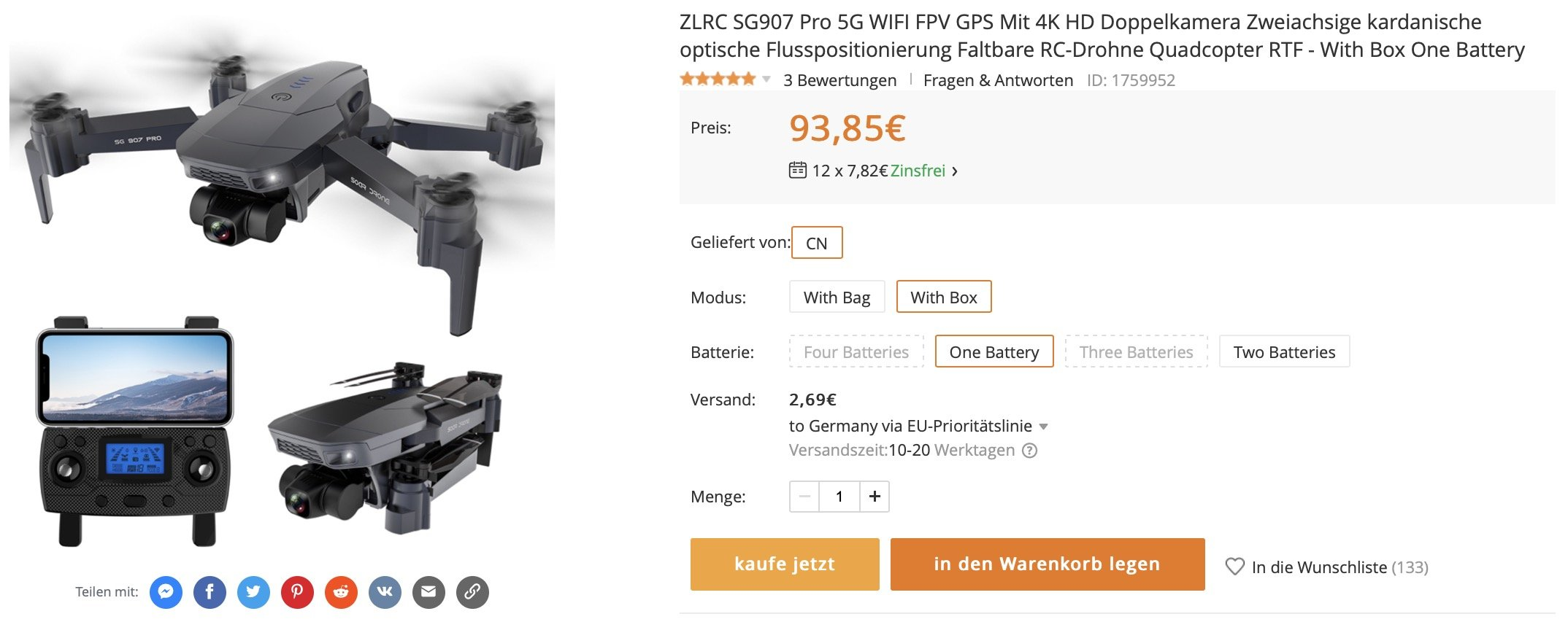 SG907 Pro Drohne