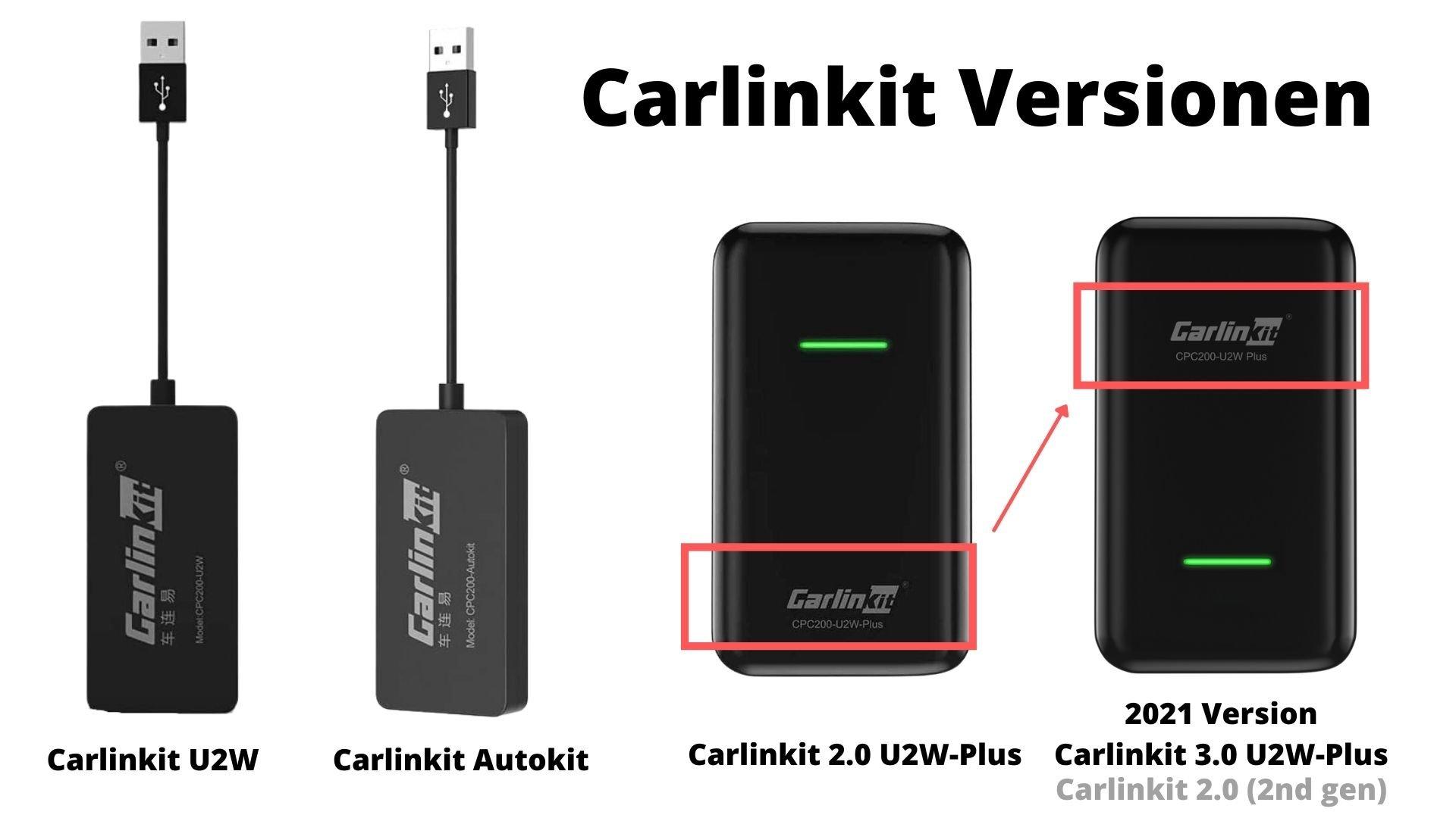 Alle Carlinkit Versionen. So erkennts Du das Carlinkit 3.0